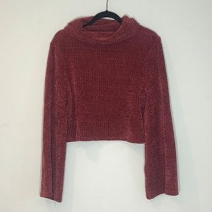 MINKPINK CROPPED MAUVE SWEATER